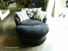 SWIVEL/CUDDLE/SNUGGLE/LOVE CHAIR AND HALF MOON FOOTSTOOL