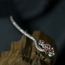 Women Chinese Retro handmade Miao Silver Agate Carved Hair sticks Hairpin Pop