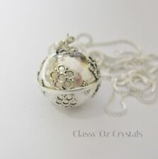 Large Sterling Silver Pregnancy Harmony Ball Necklace ~ 76 cm Chain - Gift Box