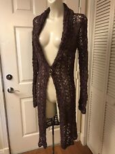 EUC INTUITIONS DEEP PURPLE MESH LACE VELOUR FIT FLARE DUSTER SWEATER CARDIGAN M