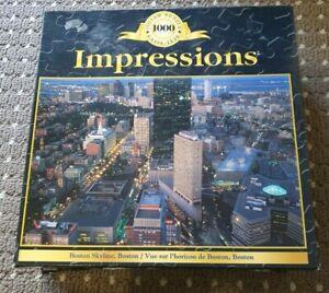 Boston Skyline, Boston Impressions 1000 Jigsaw Puzzle by Sure-Lox *RARE*