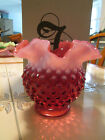 "Fenton Cranberry/Milk White Hobnail 4 1/2"" Ruffled Vase"