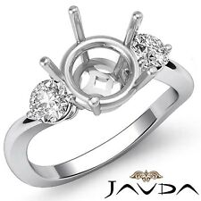 Diamond 3 Stone Wedding Round Semi Mount 18k White Gold Twist Shank Ring 0.5Ct