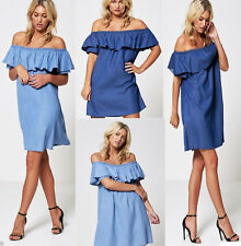 WOMENS LADIES DENIM BLUE JEANS FRILL OFF SHOULDER BARDOT SUMMER TUNIC DRESS 8-18