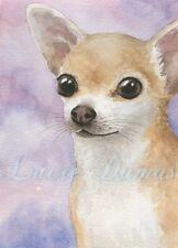 ACEO art print Dog 95 tan Chihuahua from original painting L.Dumas