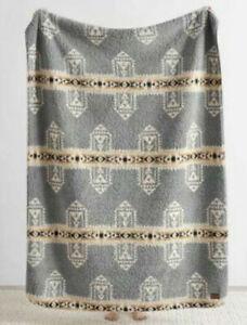 Pendleton Throw Blanket Reversible Fleece Sherpa Gray Tan Southwest Aztec