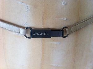 CHANEL beige leather silver hardware skinny belt necklace choker