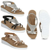 Truffle Brand 100% Vegan Low Wedge Strappy Comfy Summer Elastic Peep Toe Sandals