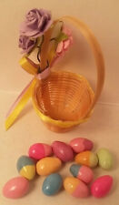 Dollhouse Mini Easter Basket clay Eggs Mulberry Paper RoseFlower Bow PurpleYello