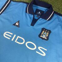 XXL Retro 2001/2 Manchester City Shirt - La Coq Sportif - Eidos - VTG Man City