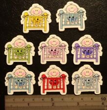 8 X WOODEN BUTTONS - BABY IN COT - CARDMAKING/SCRAPBOOKING/SEWING - *UK SELLER*