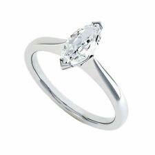 Diamond Engagement Ring 14K White Gold 1 Ct Marquise Cut Moissanite Solitaire