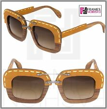 PRADA RAW Nut Canaletto Brown Leather Brown Wood Sunglasses Square PR26RS 26R