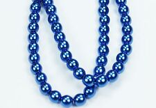 50 Royal Blue CZECH Glass Pearl Coated Round Beads- 6mm