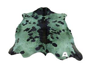 "Green & Black Dyed Cowhide Rug - Size (6'6""x5'9"" Ft)  | Premium Cowhide Rug"