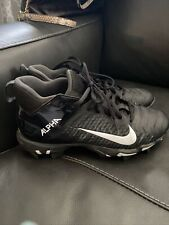 Nike Alpha Menace Shark Mid Football/Lacrosse Cleats Youth 6Y Black/White Ec