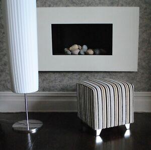 Biagi Upholstery & Design Medium Cube Stool in Black Grey Taupe Velvet Stripe