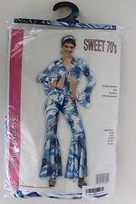RG Costumes Women's Sweet 70's Blue & White Crop Tie Top Bell Bottom Pants 8-10