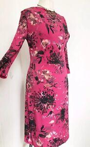 ROMAN ORIGINALS Dark Pink Chrysanthemum Jersey Dress 12 BNWT