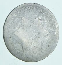 RARE Silver Trime Worn Date Three Cent Silver 3 Cent Early US Coin Look up *908
