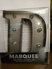 """MARQUEE LETTER """"D""""-LED Lights Battery Operated- 9"""" Vintage-Inspired Silver Color"""