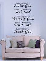 Praise God Bible Verse Vinyl Wall Stickers Decals Scripture Quote Art Word Decor