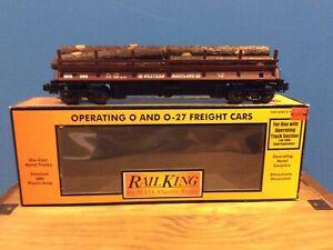 MTH Railking Western Maryland Operating Flatcar w/ Logs
