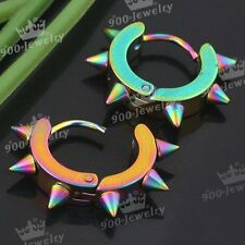 2PC Rainbow Stainless Steel Dinosaur Taper Spike Ear Stud Ring Hook Earrings