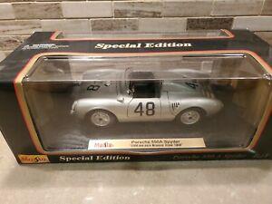"""PORSCHE 550A SPYDER 1958 SILVER MAISTO 1:18 """"1000km race Buenos Aires 1958"""""""