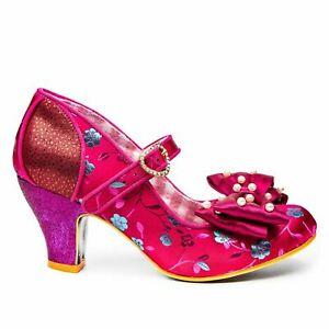 Irregular Choice Snow Drop (C) Bordo Floral Mid Heel Shoes EU 38 / UK 5