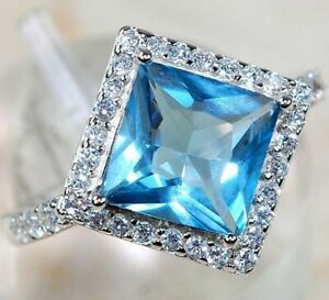 AAA Grade 3CT Aquamarine & White Topaz 925 Solid Sterling Silver Ring Sz 7, M3