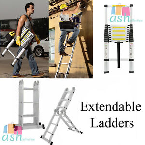 New 3 Sizes Extendable Ladders Multi Purpose Telescopic Aluminium Ladder