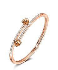 Yellow gold finish Crossover created diamond & golden citrine gemstone bangle