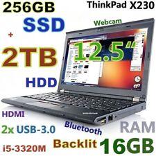 "Thinkpad X230 12.5"" i5-3rd Gen (256GB SSD + 2000GB 16GB) Webcam USB-3.0 Backlit"