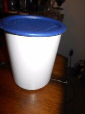 TUPPERWARE SMALL CANISTER WHITE WITH DARK BLUE SEAL