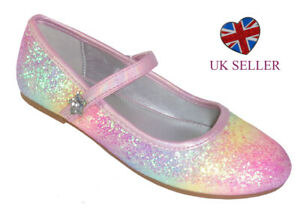 Girls Kids Rainbow Pink Glitter Sparkly Ballerina Flat Party Occasion Shoes