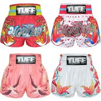 TUFF Muay Thai Boxing Shorts Blue Red Training Kick MMA Fitness Gym White 6K