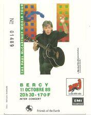 RARE / TICKET BILLET CONCERT - PAUL McCARTNEY ( THE BEATLES ) LIVE A PARIS 1989