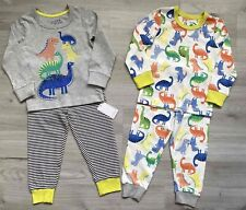 BNWT Mothercare Boys Kids 2 Pack Multipack Cotton Grey Dinosaur Pyjamas Set Pjs