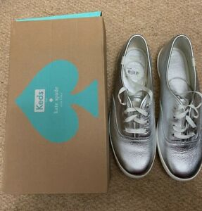 New Keds Kate Spade Metallic Silver Leather Sneakers Size 9