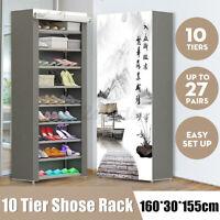 Portable 10 Tiers Shoe Rack Storage Cabinet Organiser Wardrobe Shelves Cover AU