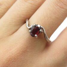 Shube Vtg 925 Sterling Silver Real Red Garnet Gemstone Ring Size 7