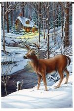 "Deer in Snow by the Creek Cottage Winter Snow Scene Small Banner Flag 12.5""x18"""