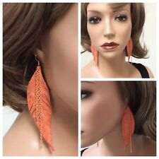Molded Pink Feather Dangle Earrings Handmade from Leather