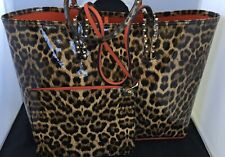 CHRISTIAN LOUBOUTIN Cabata spiked leopard textured-leather tote,