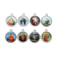 10Pcs Catholic Religious Enamel Art Medals Charms Pendants Accessories 30mm