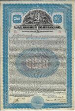 WISCONSIN 1921 Ajax Rubber Company Bond Stock Certificate ABN Tires Racine
