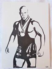 A4 Bolígrafo Marcador De Arte Dibujo luchador Kurt Angle cartel un