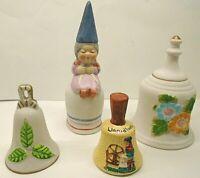Vintage Assorted Lot 4 Hand Bells - Porcelain Bisque, Llandilies Cymru am Byth