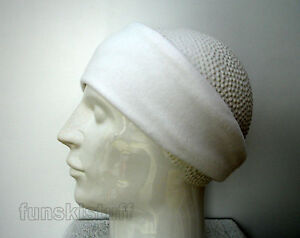 Headband WHITE soft fleece ear muff hat head warmer ski adults unisex sports 9cm